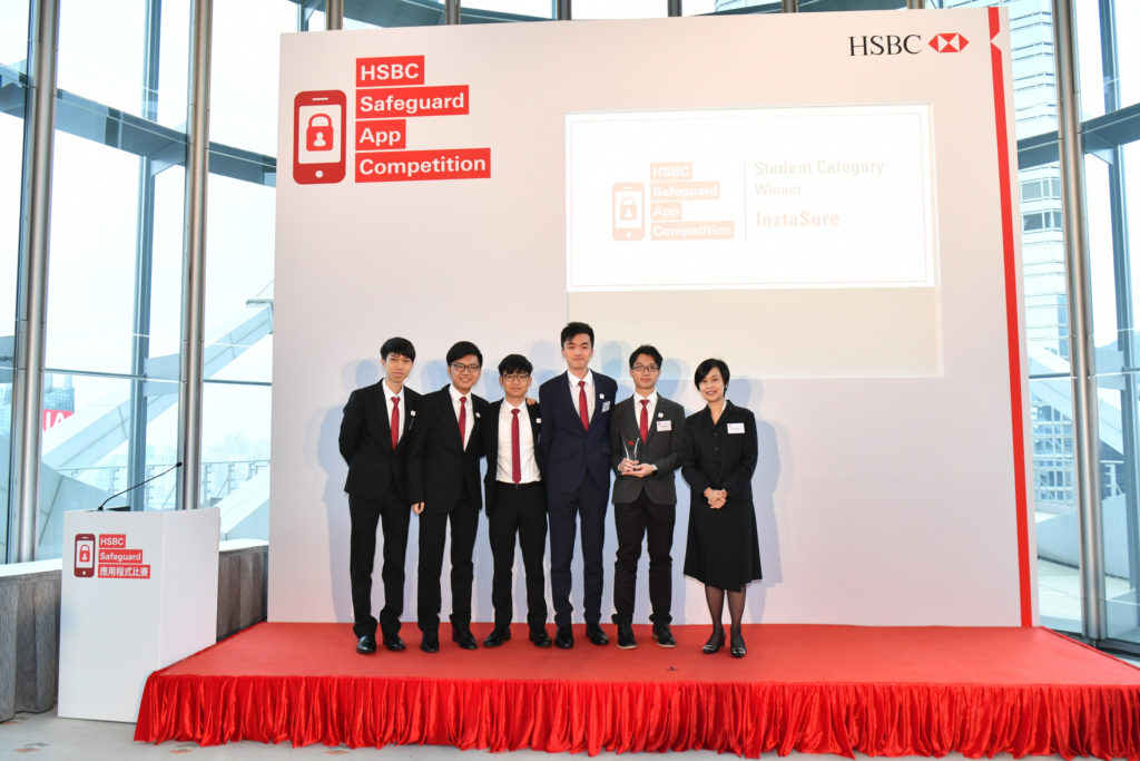 Ms Diana Cesar, Chief Executive, Hong Kong, HSBC presented the prize to the winner of the Student Category – InstaSure.